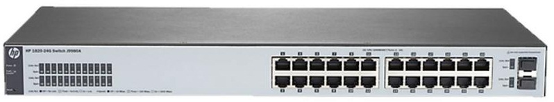 Коммутатор HPE 1820 24G Switch (24 ports 10/100/1000 + 2 SFP, WEB-managed, fanless)