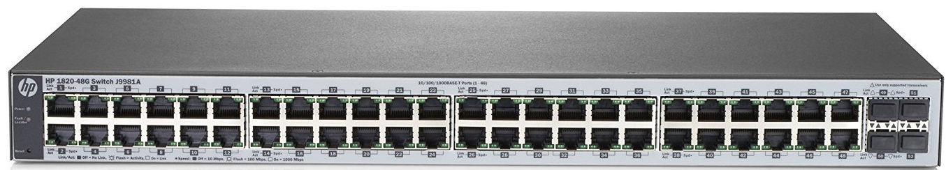 Коммутатор HPE 1820 48G Switch (48 ports 10/100/1000 + 4 SFP, WEB-managed, fanless)