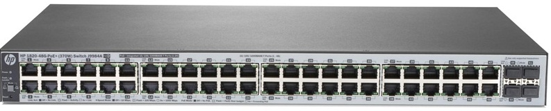Коммутатор HPE 1820 48G PoE+ (370W) Switch (24 ports 10/100/1000 + 24 ports 10/100/1000 PoE+ + 4 SFP, WEB-managed)