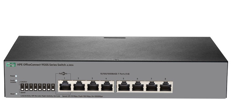 Коммутатор HPE 1920S 8G Switch (8x10/100/1000 RJ-45, Web-managed, static routing, fanless, 19