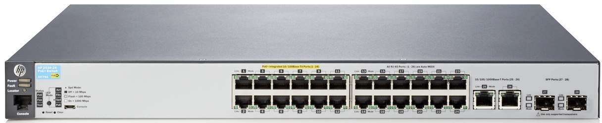 "Коммутатор HPE Aruba 2530 24 PoE+ Switch (24 x 10/100 + 2 x SFP + 2 x 10/100/1000, Managed, L2, virtual stacking, POE+ 195W, 19"")"